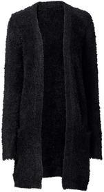 Bonprix Długi kardigan z dzianiny z długim włosem czarny