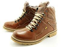 KENT KENT 220 BRĄZ - Wysokie buty zimowe ze skóry, naturalne futro