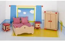 Goki SYPIALNIA drewniane mebelki do domku dla lalek GK 51954
