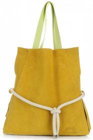 Vittoria Gotti Modne i Uniwersalne Torebki Skórzane Na co Dzień ShoppeBag XL z Kosmetyczką Żółta (kolory) V26Azo