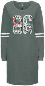 Bonprix Sukienka dresowa zielony eukaliptusowy z nadrukiem