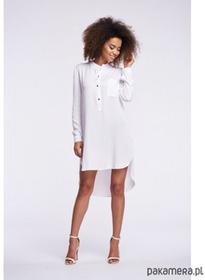 Asymetryczna koszulowa tunika - biały