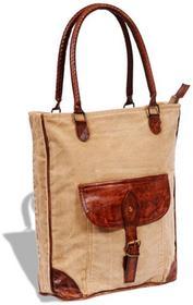 vidaXL vidaXL Płócienno-skórzana torba z kieszenią i klamrą