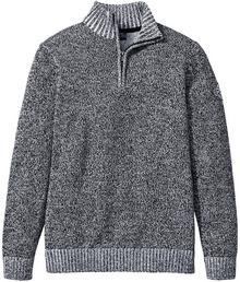Bonprix Sweter ze stójką Regular Fit czarno-biały melanż