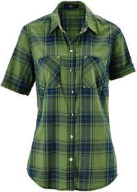 Bonprix Bluzka, krótki rękaw zielono-ciemnoniebieski w kratę