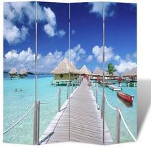 vidaXL Parawan (160 x 180) z motywem plaży, dwustronny