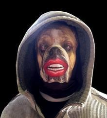 L&S PRINTS FOAM DESIGNS Bulldog Czerwony warg Fun materiału maska na twarz Halloween/jelenia impreza akcesoria