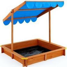WideShop Drewniana piaskownica dla dzieci z baldachimem ART-455