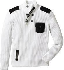 """Bonprix Sweter \""""Slim fit"""" biały"""