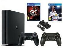 Sony PlayStation 4 Slim 1TB Czarny + FIFA 18 + Gran Turismo + 2xDualShock