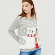 Cropp Cropp - Sweter z motywem świątecznym - Szary