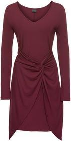 Bonprix Sukienka z dżerseju z przewiązaniem czerwony klonowy