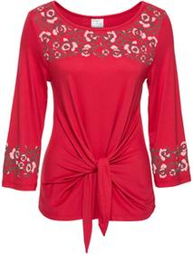 Bonprix Shirt z kwiatowym haftem czerwony