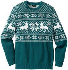 Bonprix Sweter w norweski wzór Regular Fit niebieskozielony morski