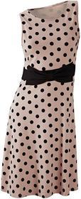 Bonprix Sukienka w groszki jasnobrązowo-czarny w groszki