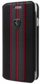 Ferrari Urban Booktype - Etui skórzane iPhone 7 / iPhone 6s / iPhone 6 z kieszeniami na karty (czarny/czerwony) 10_9894