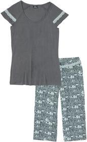 c3ec07906fa170 -27% Bonprix Piżama ze spodniami 3/4 pastelowy miętowy - dymny szary z  nadrukiem