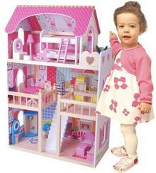 Norimpex Duży drewniany domek dla lalek z mebelkami - natychmiastowa wysyłka !!!