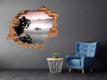 Oklejaj Naklejka na ścianę Dziura 3D Chiński sampan we mgle 0064 nakl_dziura3d_64