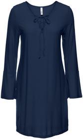 Bonprix Sukienka shirtowa ze sznurowaniem ciemnoniebieski