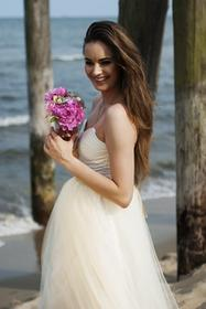 Suknia ślubna tiulowa gorsetowa złoto ecru