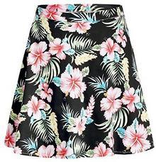 Rock sslr damskie Hawaii Hibiscus Casual kwiaty A linii krótka A-linie czarny B074T72X2K