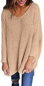Exlura exlura do robienia na drutach-Sweater w overzize z długim rękawem wycięcie w kształcie V sypkiej swetry damskie niedbały Top, kolor: morela , rozmiar: s WATP026-1709-2300S