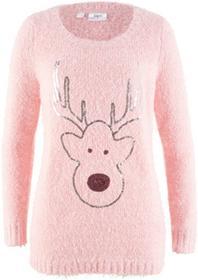 Bonprix Sweter z długim rękawem jasnoróżowy pudrowy