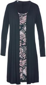 Bonprix Sukienka shirtowa 2 w 1 czarno-matowy jasnoróżowy z nadrukiem