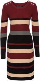 Bonprix Sukienka dzianinowa w paski czerwony kasztanowy - czarny