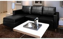 vidaXL Sofa z czarnej sztucznej skóry 3 osobowa