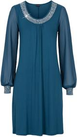 Bonprix Sukienka z aplikacją ze sztrasów niebieskozielony morski