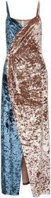 Bonprix Sukienka aksamitna jasnoróżowo-niebieski w paski