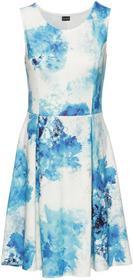 Bonprix Sukienka z dżerseju z nadrukiem biel wełny - niebiesko-turkusowy wzorzysty