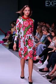 Bugumiła - szara sukienka w czerwone kwiaty