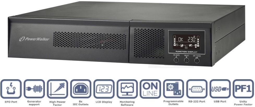 Power Walker Zasilacz awaryjny UPS Power Walker VFI 1000 Rack2U/Tower 1000VA/1000W online LCD VFI 1000 RMG