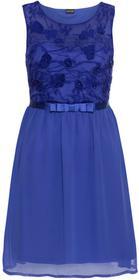 Bonprix Krótka sukienka wieczorowa z koronkową aplikacją niebieski