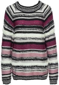 Bonprix Sweter z fantazyjnej przędzy szaro-jasnoróżowy