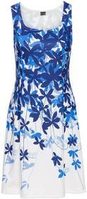 Bonprix Sukienka z dżerseju w kwiaty biel wełny - niebieski wzorzysty