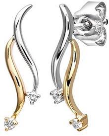 Naava naava kolczyki damskie kolczyki wiszące 9K podwójne Swirl kropla kolczyki białe złoto rodowane diament (0.05CT) Biały szlif okrągły375pe02925, dwubarwny PE02925YW