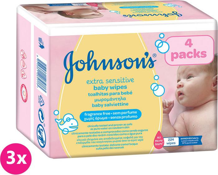 Johnsons Baby 3x JOHNSONS BABY Extra Sensitive 224 szt chusteczki nawilżane