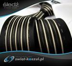 Dunpillo Krawat Męski czarny śledź w brązowe i beżowe paski i wzory P518