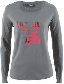 Bonprix Shirt, długi rękaw dymny szary z nadrukiem