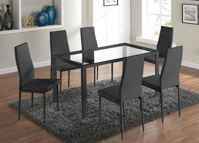 Lectus Zestaw stołowy Fargot czarny stół + 6 krzeseł