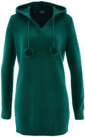 Bonprix Długi sweter z kapturem niebieskozielony
