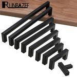 RUNBAZEF nowoczesny czarny uchwyt do szafki kwadratowy sprzęt meblowy klamki kuchenne ze stali