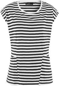 Bonprix Shirt z przędzy mieszankowej, krótki rękaw czarno-biały w paski