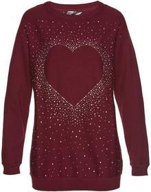 Bonprix Długi sweter z aplikacją ze sztrasów w kształcie serca czerwony klonowy