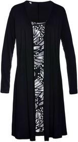 Bonprix Sukienka shirtowa 2 w 1 czarno-biały z nadrukiem