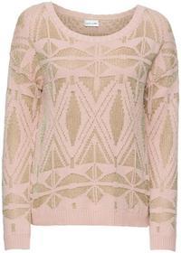 Bonprix Sweter z połyskującą metaliczną nitką różowy